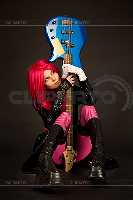 Romantic girl with guitar  | High resolution stock photo |ID 3023380