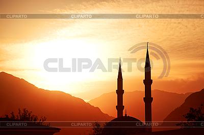 Moschee-Silhouette bei Sonnenuntergang   Foto mit hoher Auflösung  ID 3023508