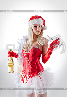 Mrs. Santa with champagne  | High resolution stock photo |ID 3023514
