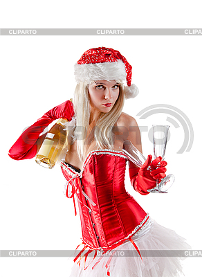 Mrs. Santa mit Champagner-Flasche | Foto mit hoher Auflösung |ID 3023515