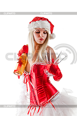 Sexy Mrs. Santa with champagne  | High resolution stock photo |ID 3023517