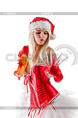 Mrs. Santa mit Champagner-Flasche | Foto mit hoher Auflösung |ID 3023517