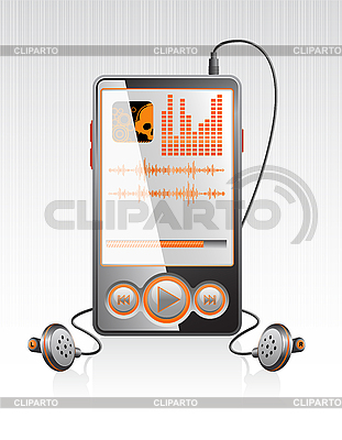 Stylish player with modern orange interface    Stock Vector Graphics  ID 3023564