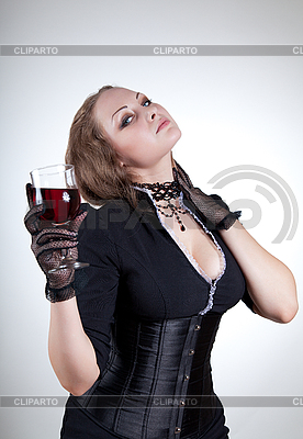 Sexy young woman with glass of red wine  | High resolution stock photo |ID 3023639