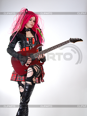 Gothic girl playing guitar  | High resolution stock photo |ID 3023714