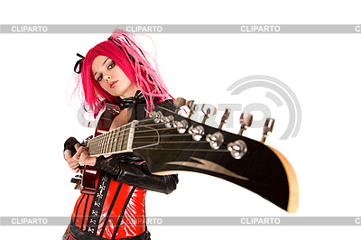 Gothic girl with guitar  | High resolution stock photo |ID 3023723