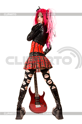 Punk girl with electro guitar  | High resolution stock photo |ID 3023728