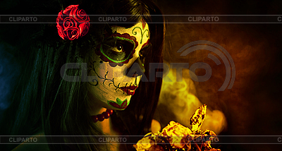 Sugar skull girl with dead roses  | High resolution stock photo |ID 3038298