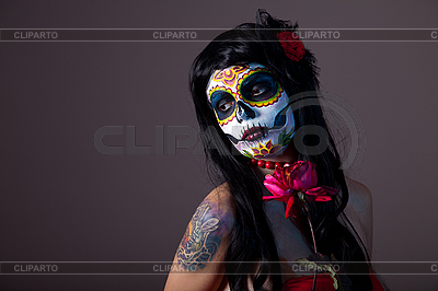 Sugar skull girl with red rose   High resolution stock photo  ID 3090748