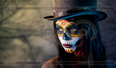 Sugar skull girl in tophat | High resolution stock photo |ID 3090750