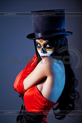 Sugar skull girl in tophat and red dress | High resolution stock photo |ID 3090751
