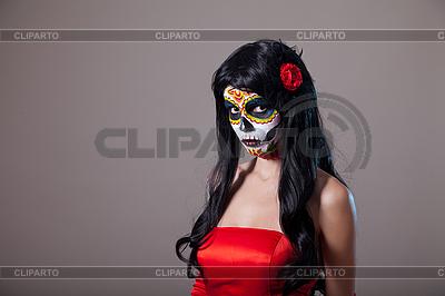 Sugar skull girl in red dress | High resolution stock photo |ID 3113108