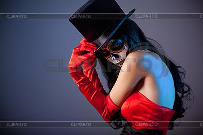 Schädel-Mädchen im Zylinderhut | Foto mit hoher Auflösung |ID 3113110