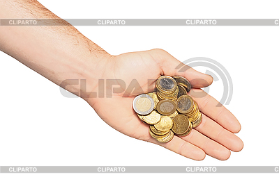 Hand with coins isolated on white   High resolution stock photo  ID 3019820