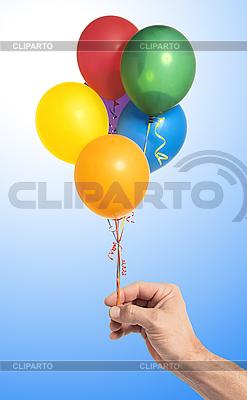 Hand gospodarstwa kolorowe balony powietrza | Foto stockowe wysokiej rozdzielczości |ID 3019826