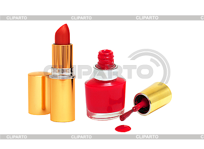 Spilled Red Nail Polish and Red Lipstick | High resolution stock photo |ID 3019848