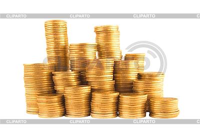 Viele goldene Münzen in Spalten | Foto mit hoher Auflösung |ID 3019851