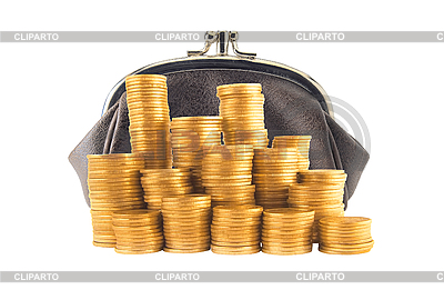 Purse and many golden coins in columns | High resolution stock photo |ID 3019892