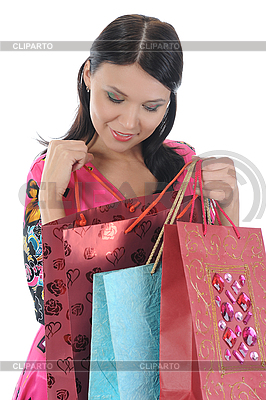 Beautiful girl with shopping bags | High resolution stock photo |ID 3021586