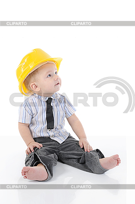 Happy child in yellow builder helmet | High resolution stock photo |ID 3021651