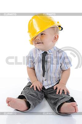 Junge in einem gelben Bauhelm | Foto mit hoher Auflösung |ID 3021652