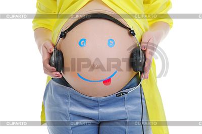 Zeichnung auf Bauch der schwangeren Frauen | Foto mit hoher Auflösung |ID 3021714