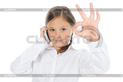 Dziewczynka pokazuje podpisać w porządku | Foto stockowe wysokiej rozdzielczości |ID 3021733