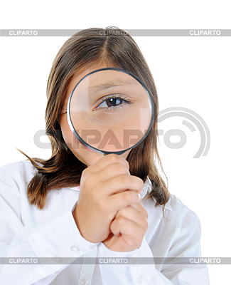 Girl looking through magnifying glass | High resolution stock photo |ID 3021739