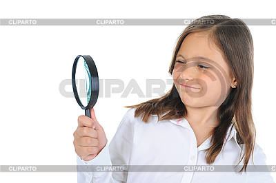 Girl looking through magnifying glass   High resolution stock photo  ID 3021740