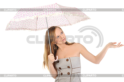 Młoda kobieta z parasolem | Foto stockowe wysokiej rozdzielczości |ID 3021866