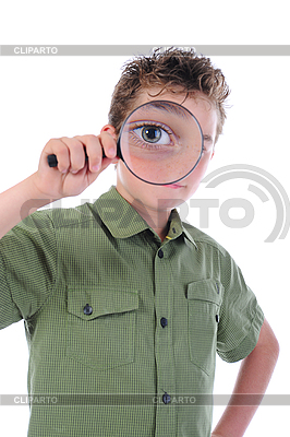 Boy looking through magnifying glass | High resolution stock photo |ID 3021936