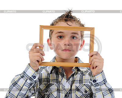 Little boy with frame in his hands   High resolution stock photo  ID 3021975