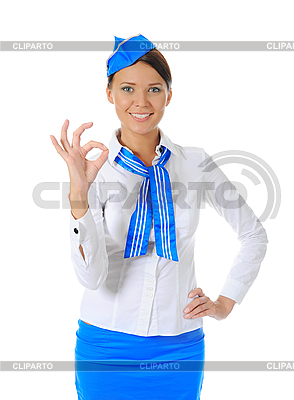 Attractive stewardess showing okay | High resolution stock photo |ID 3021995