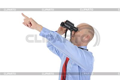 Biznesmen patrząc przez lornetkę | Foto stockowe wysokiej rozdzielczości |ID 3022041