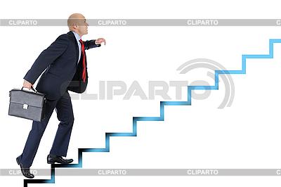 Geschäftsmann läuft auf der Karriereleiter | Foto mit hoher Auflösung |ID 3022047