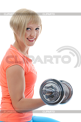 Young girl athlete dumbbell | High resolution stock photo |ID 3022148