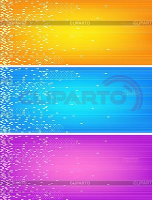 Trzy kolorowe banery   Klipart wektorowy  ID 3023057