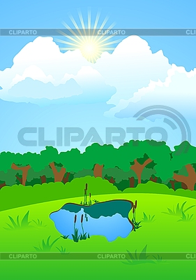 See auf einer Waldlichtung | Stock Vektorgrafik |ID 3024637