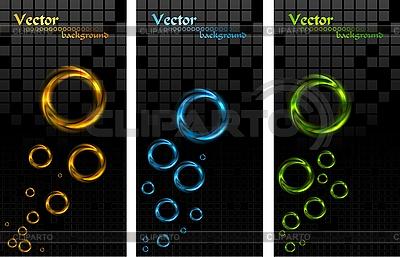 Banery z kolorowymi pierścieniami | Klipart wektorowy |ID 3026606