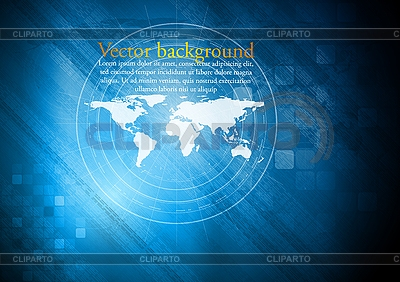 Blue technical background with world map | Stock Vector Graphics |ID 3107211