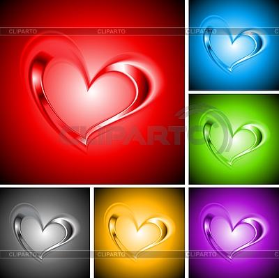 Набор ярких фонов с сердечками | Векторный клипарт |ID 3172967