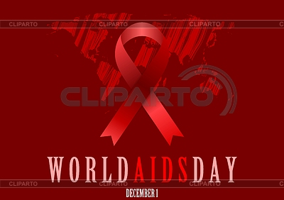 World Aids Day with red ribbon and grunge map | Stock Vector Graphics |ID 5401060
