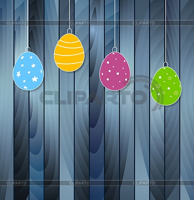 Flat Easter eggs on blue wooden texture background | Stock Vector Graphics |ID 5518756
