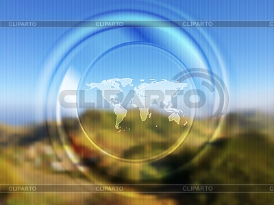 World map and blurred circle on landscape background | Stock Vector Graphics |ID 5602011