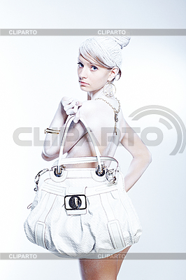 Glamourous woman with white bag | High resolution stock photo |ID 3023088