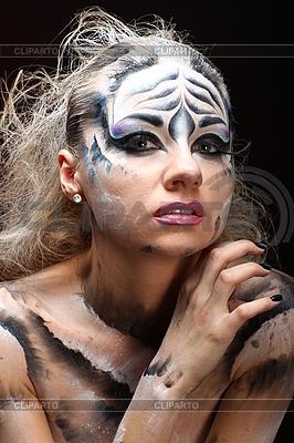 Weißer Tiger - schöne Modell-Frau mit Bodypainting | Foto mit hoher Auflösung |ID 3023126