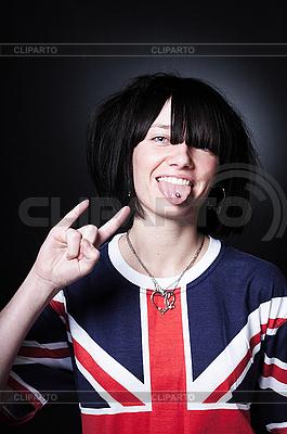 Beautiful young punk-girl on dark in British t-shirt | High resolution stock photo |ID 3023935