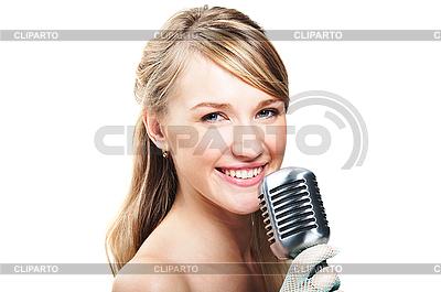 레트로 마이크에 노래를 부르고 소녀 | 높은 해상도 사진 |ID 3024222