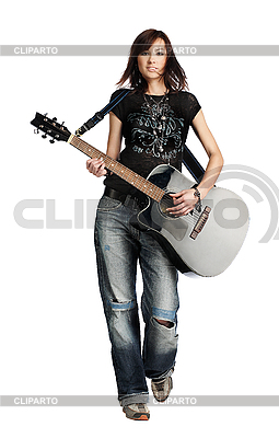 Teenager girl playing an acoustic guitar | High resolution stock photo |ID 3024263