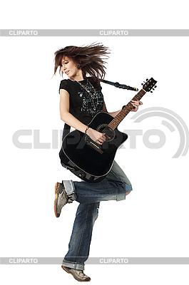 Teenager-Mädchen spielt akustische Gitarre | Foto mit hoher Auflösung |ID 3024265